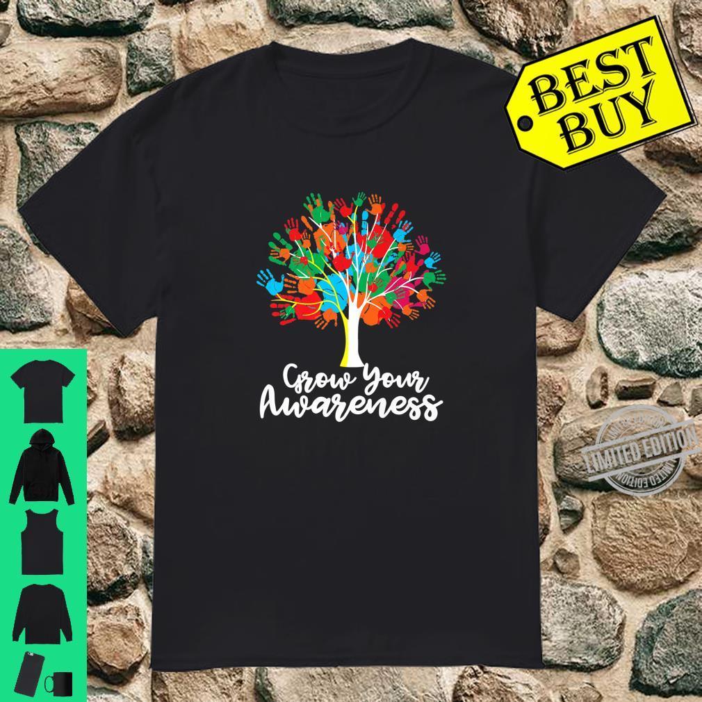 Grow Your AWARENESS Puzzle Tree hand Autism Awareness Shirt