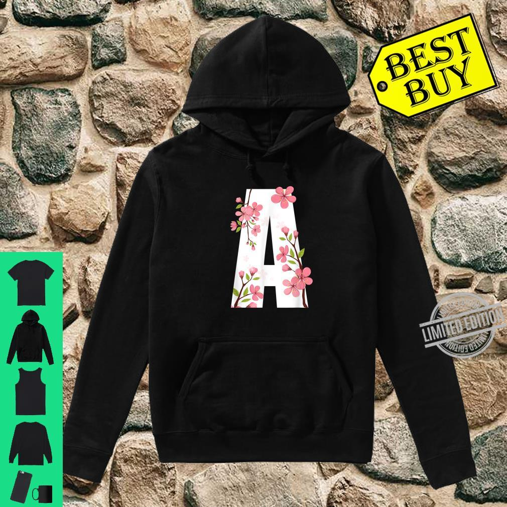 Letter A Cherry Blossom Flower with First Initial Shirt hoodie