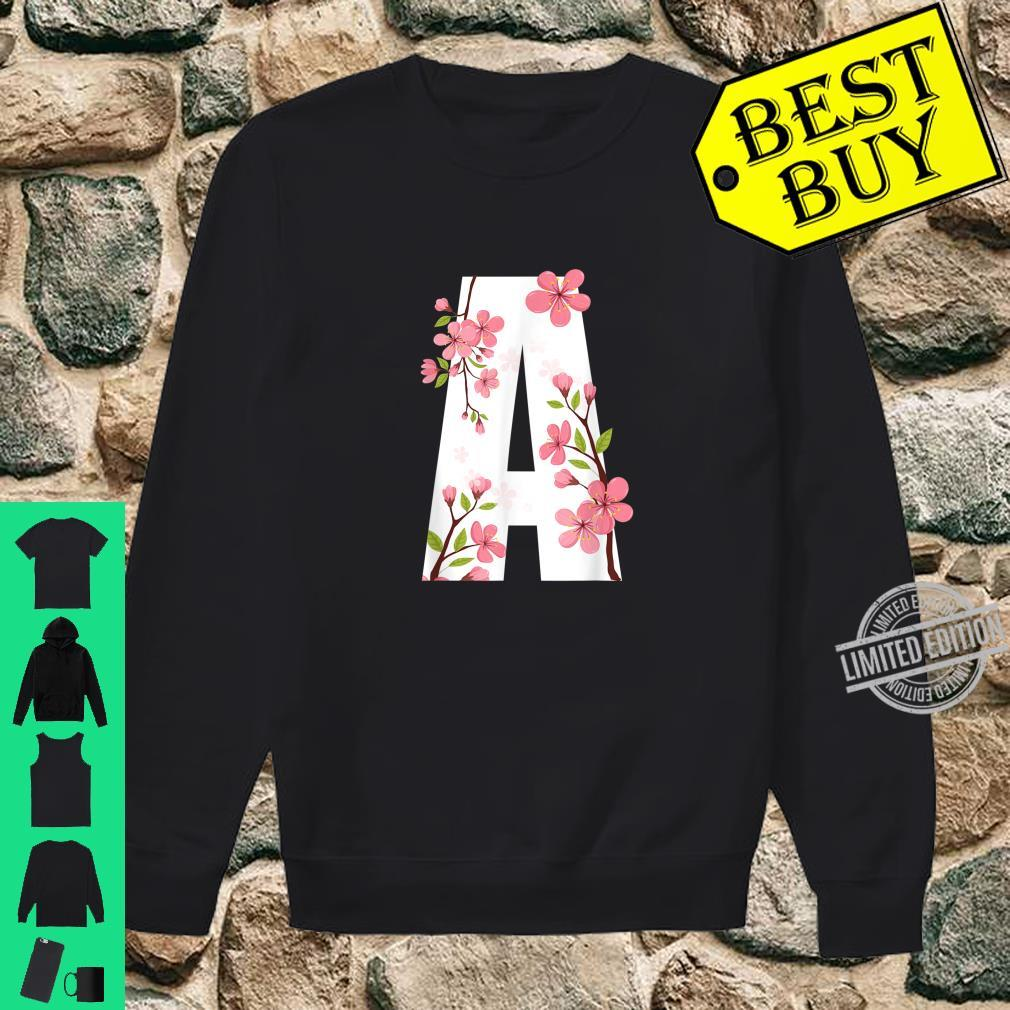 Letter A Cherry Blossom Flower with First Initial Shirt sweater