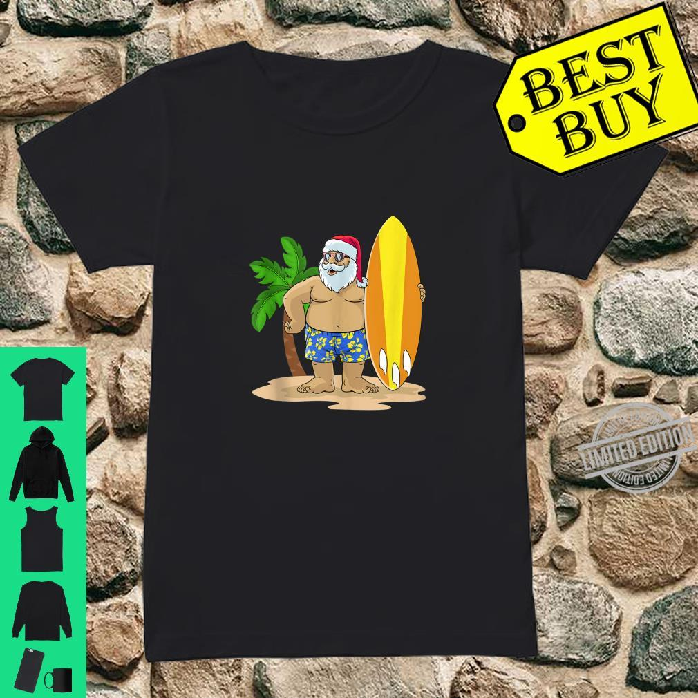 Santa Christmas in July Summer Hawaiian Surfing Vacation BZR Shirt ladies tee