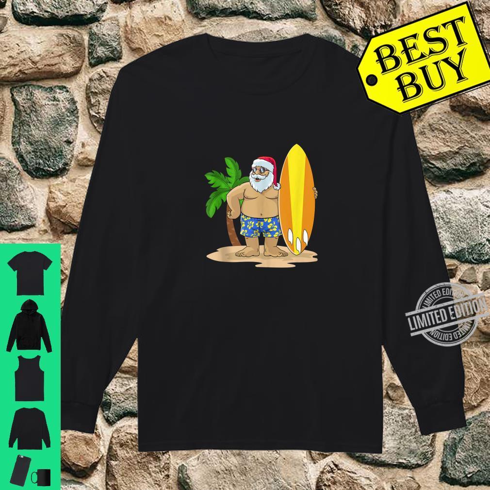 Santa Christmas in July Summer Hawaiian Surfing Vacation BZR Shirt long sleeved