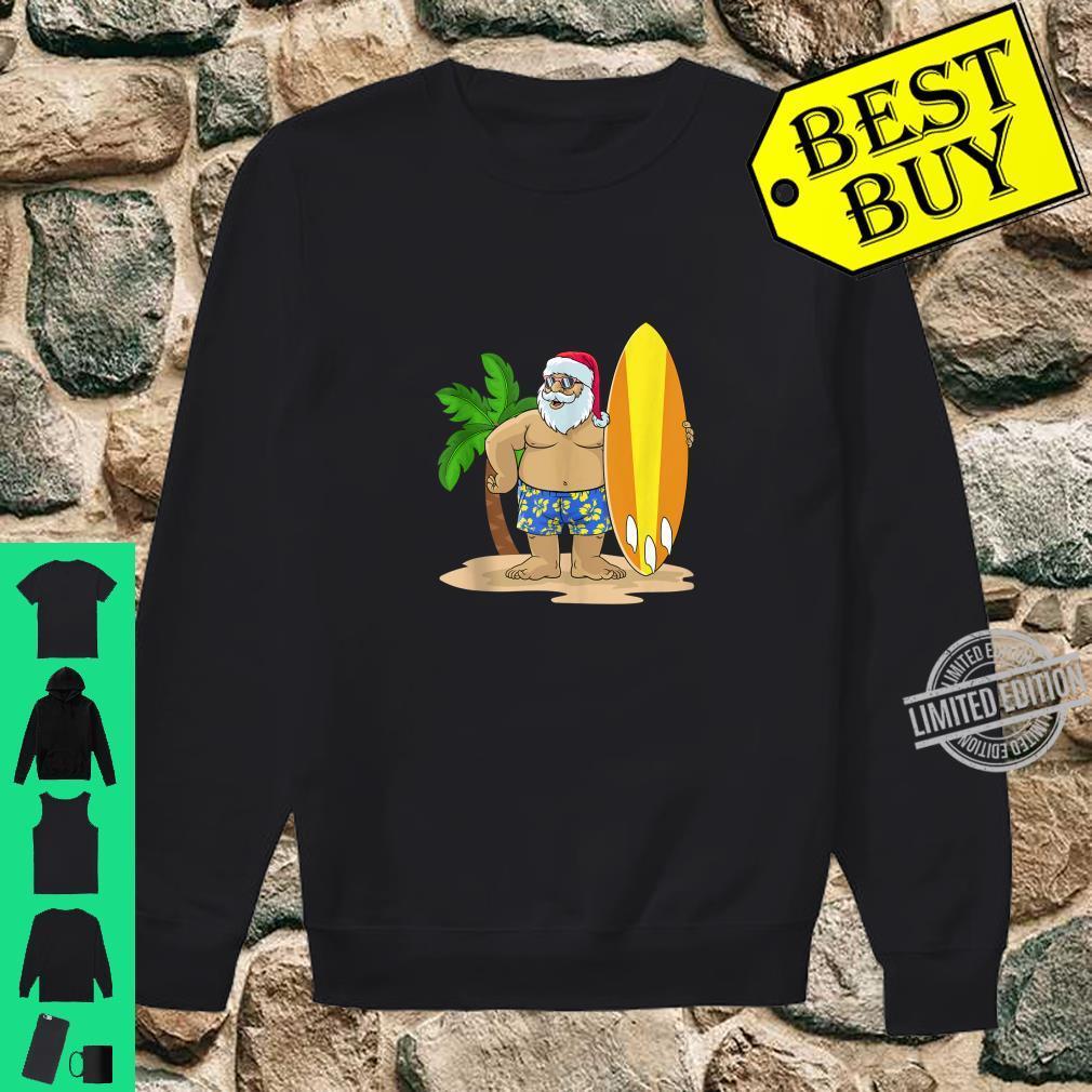 Santa Christmas in July Summer Hawaiian Surfing Vacation BZR Shirt sweater