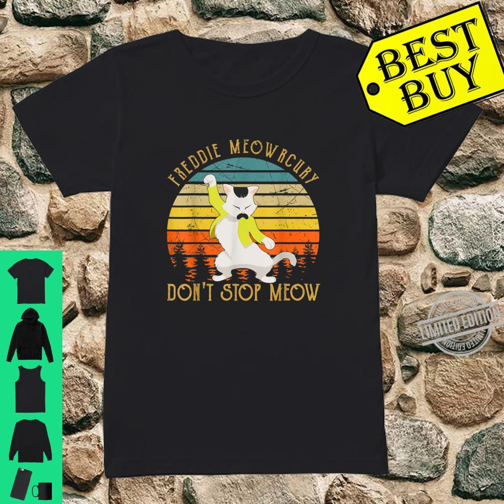 Vintage Freddie Purrcury Don't Stop Meow Cute Cats Love Shirt ladies tee