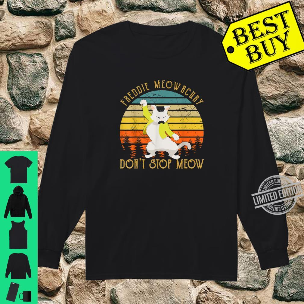 Vintage Freddie Purrcury Don't Stop Meow Cute Cats Love Shirt long sleeved