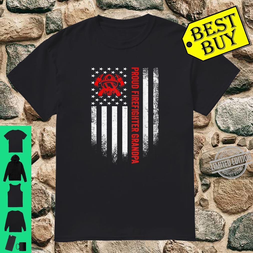 Vintage USA American Flag Proud Firefighter Grandpa Shirt